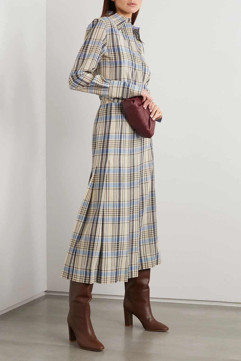 Victoria Beckham Cutout checked wool shirt