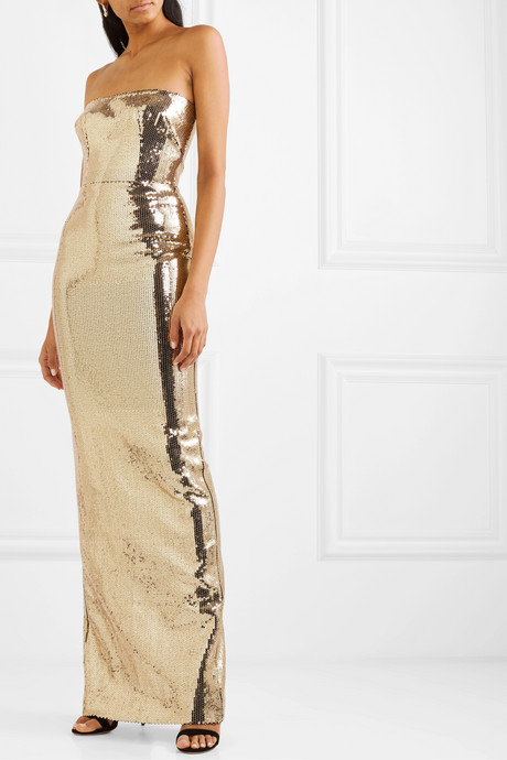 Howard strapless sequined crepe gown