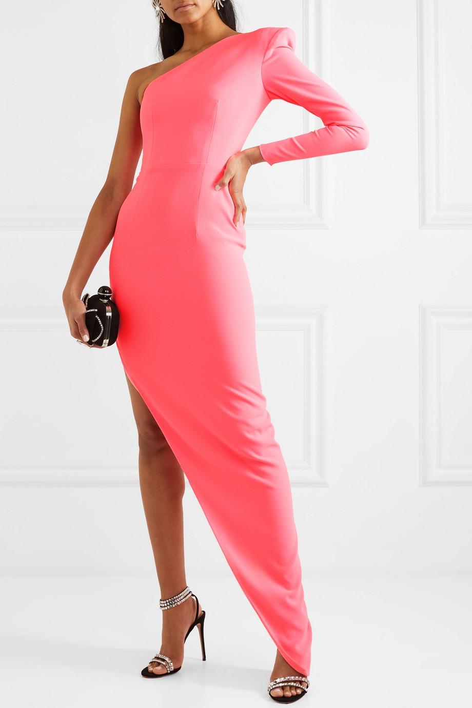 Alex Perry Jolie one-sleeve asymmetric crepe dress