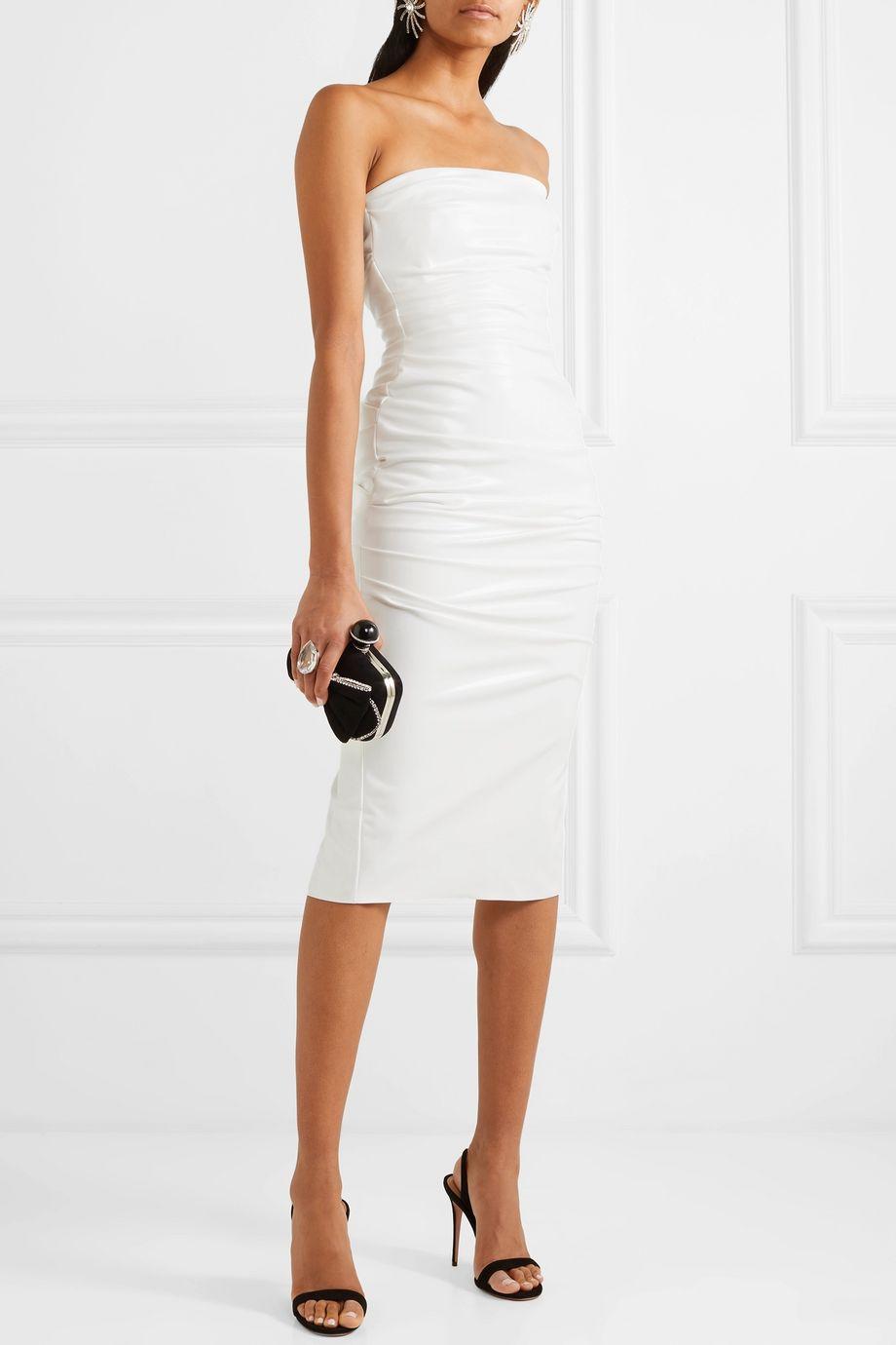 Alex Perry Decon strapless ruched stretch-vinyl dress