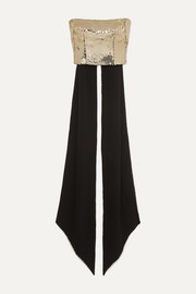 Alex Perry Bennet cropped draped sequinned crepe top