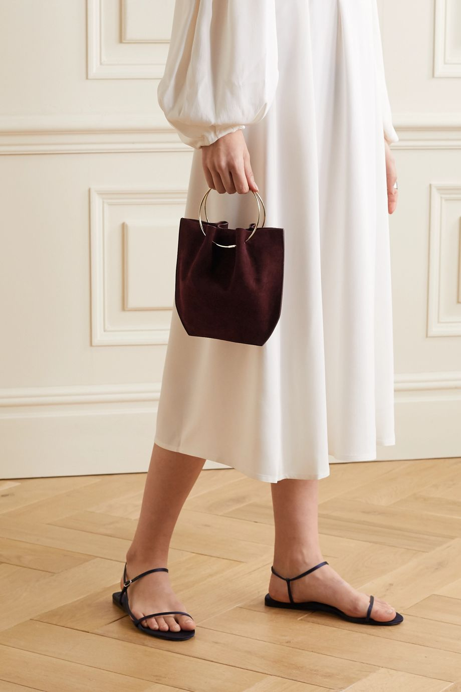 The Row Flat Circle suede tote