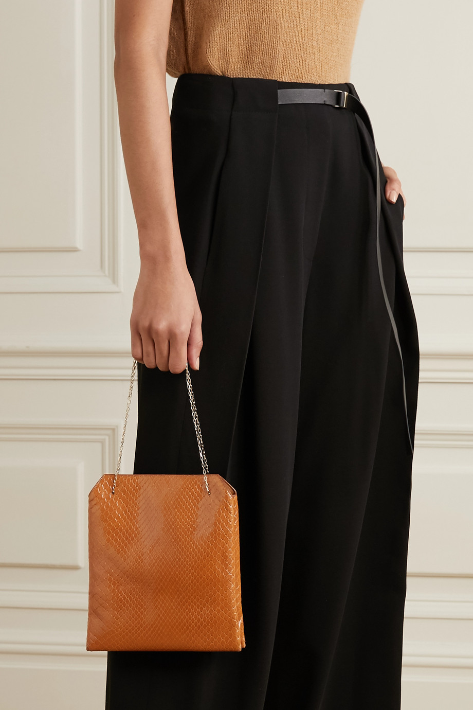 The Row Lunch Bag small python tote
