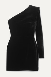 Alex Perry Ambre one-sleeve velvet mini dress