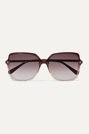 Oversized square-frame ombré acetate sunglasses