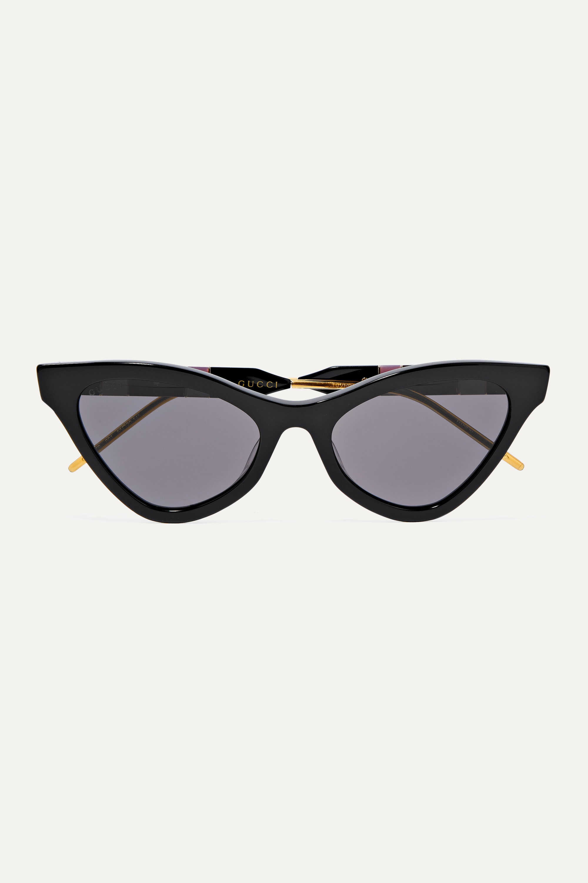 Gucci Cat-eye acetate, gold-tone and enamel sunglasses