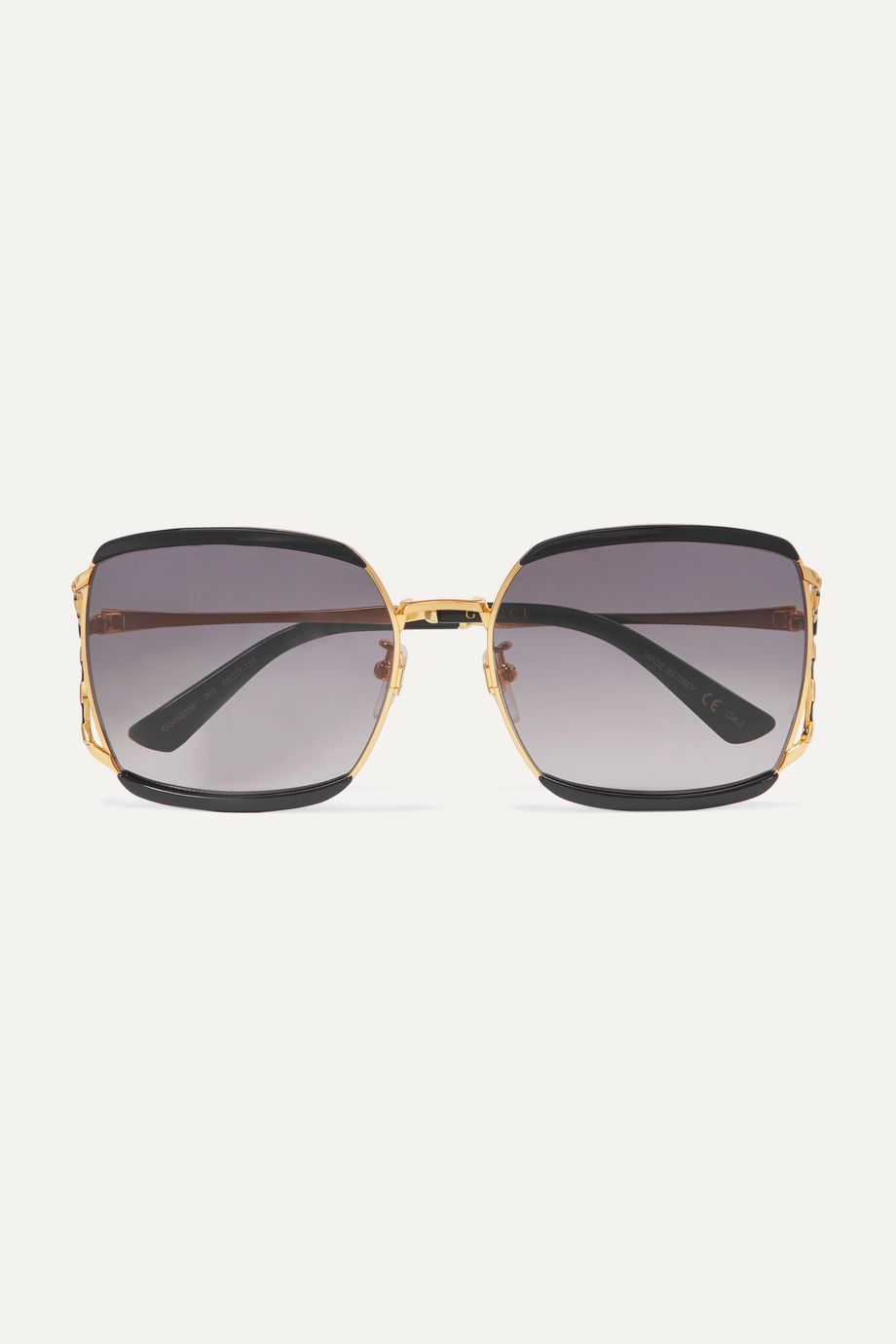 Gucci Fork square-frame acetate and gold-tone sunglasses
