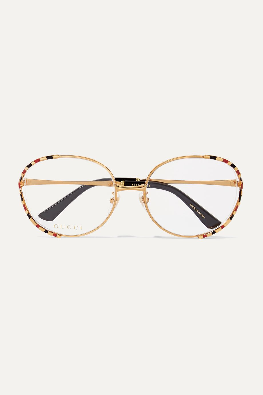 Gucci Fork square-frame gold-tone and enamel optical glasses