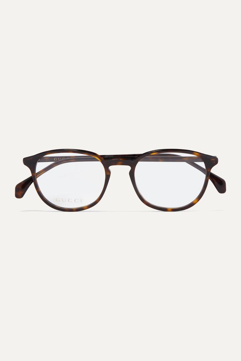 Gucci Round-frame tortoiseshell acetate optical glasses