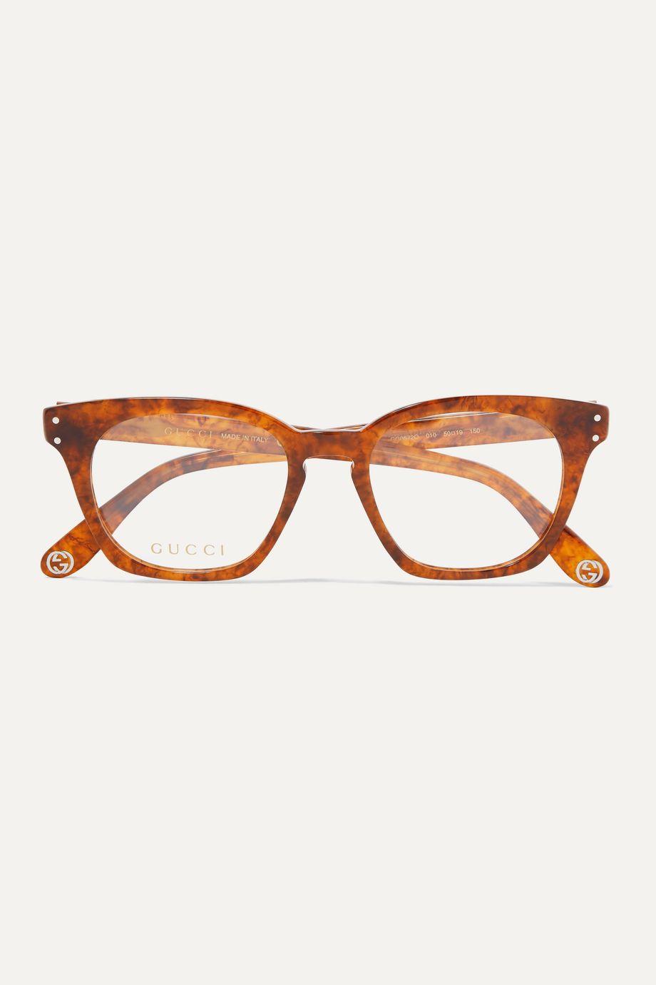 Gucci Square-frame tortoiseshell acetate optical glasses