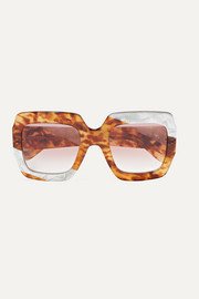 Slash oversized square-frame tortoiseshell acetate sunglasses