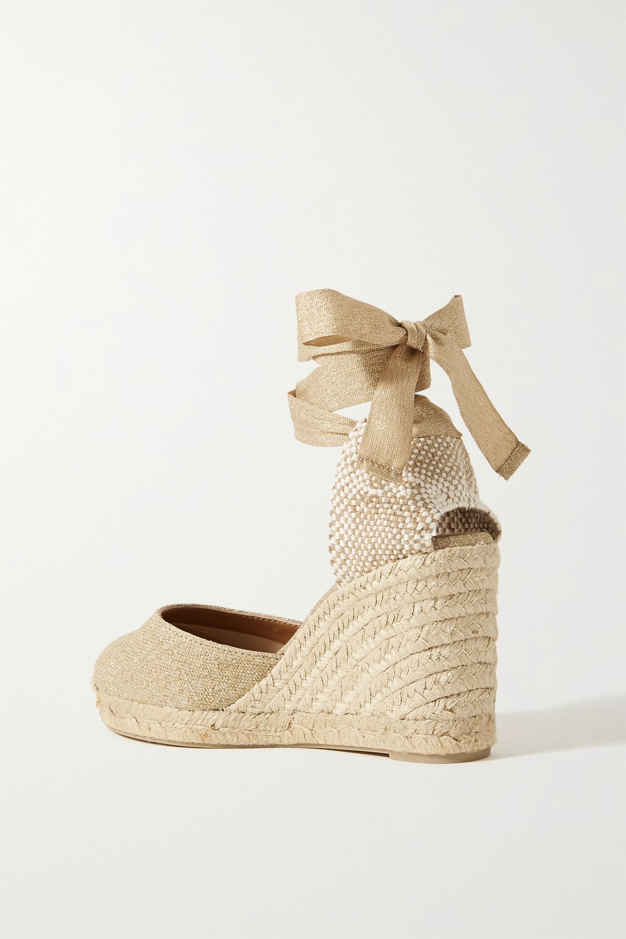 Castañer Carina 80 metallic canvas wedge espadrilles