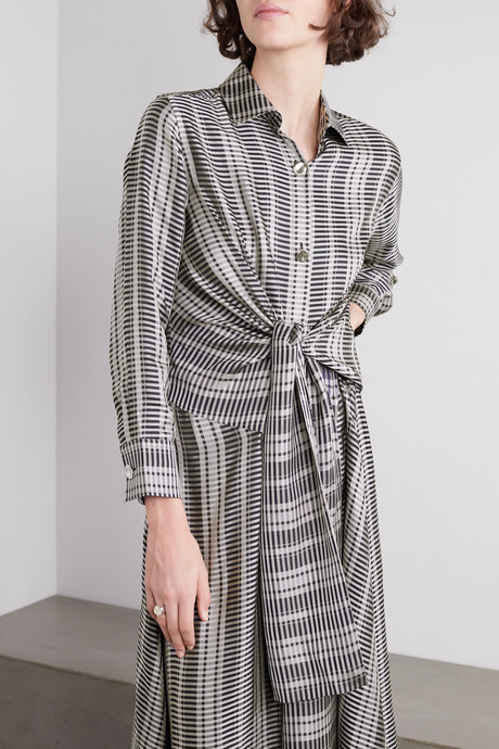 Julia tie-front checked satin-jacquard midi dress