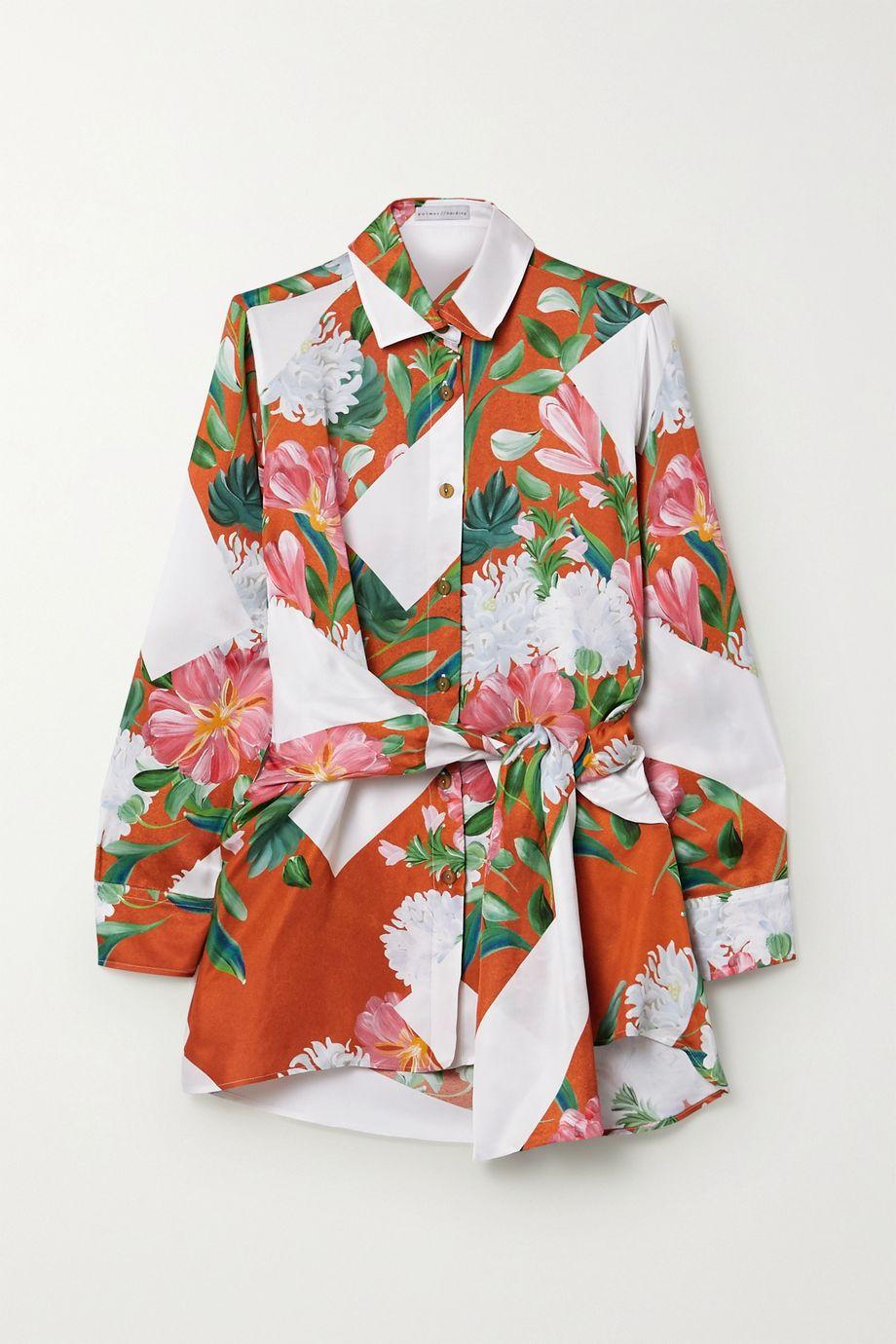 palmer//harding Julia belted printed satin-twill shirt
