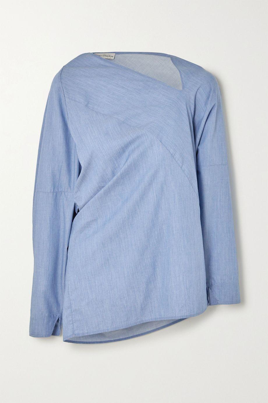 palmer//harding Triangle asymmetric cotton-chambray shirt
