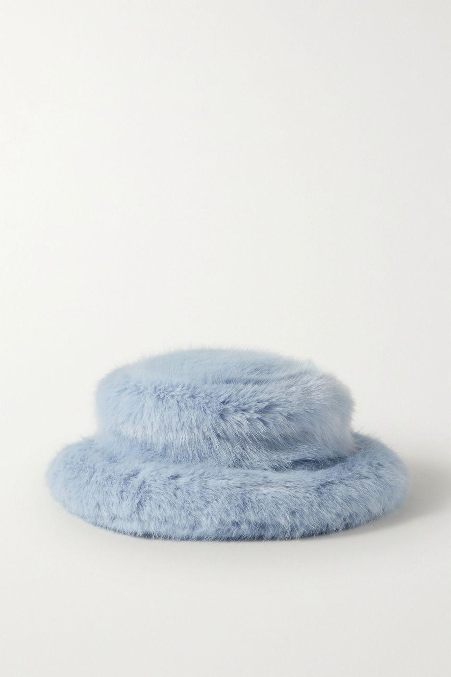 Emma Brewin Faux fur bucket hat