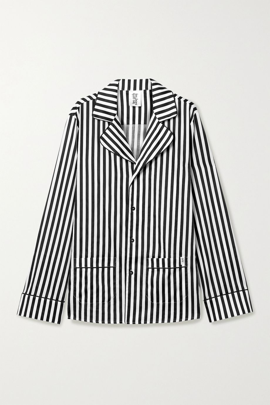 Les Girls Les Boys Piped striped cotton-sateen pajama shirt