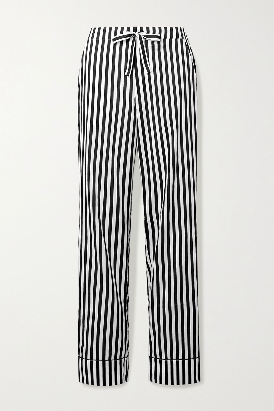 Les Girls Les Boys Piped striped cotton-sateen pajama pants