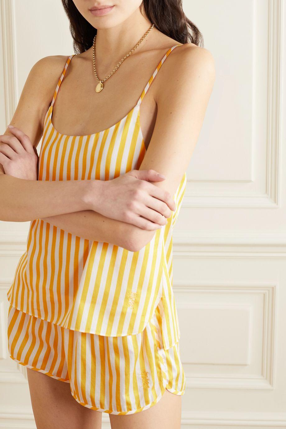 Les Girls Les Boys Striped cotton-sateen pajama set
