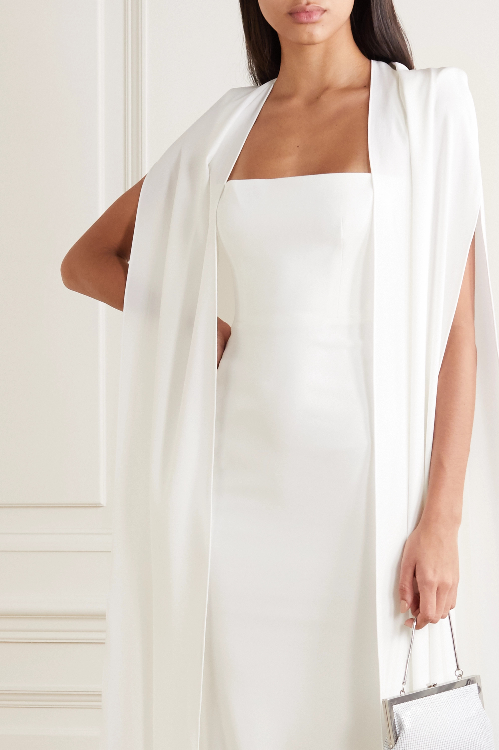Alex Perry Vance cape-effect crepe gown