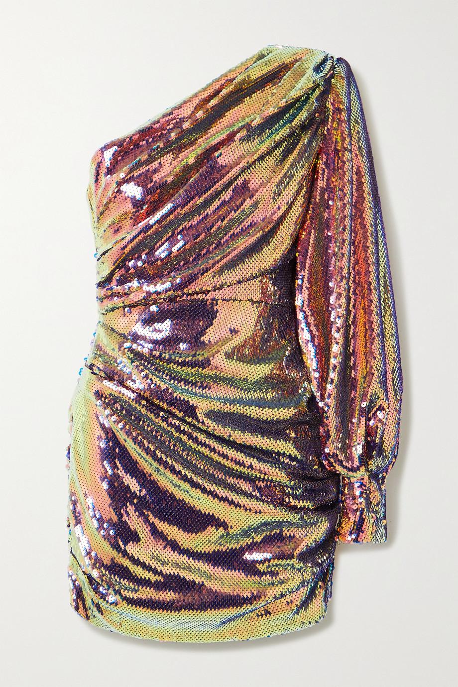 Alex Perry Jackson one-sleeve sequined satin mini dress