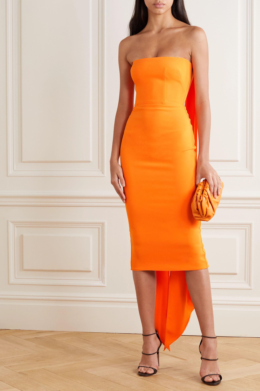 Hall strapless draped crepe midi dress