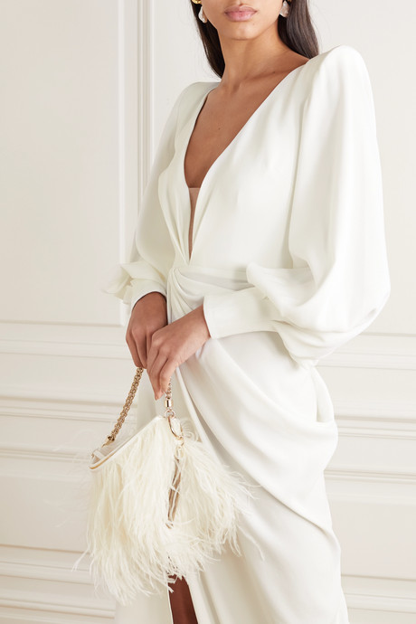 Clark draped crepe gown