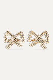 Tie Me Up gold-plated crystal clip earrings