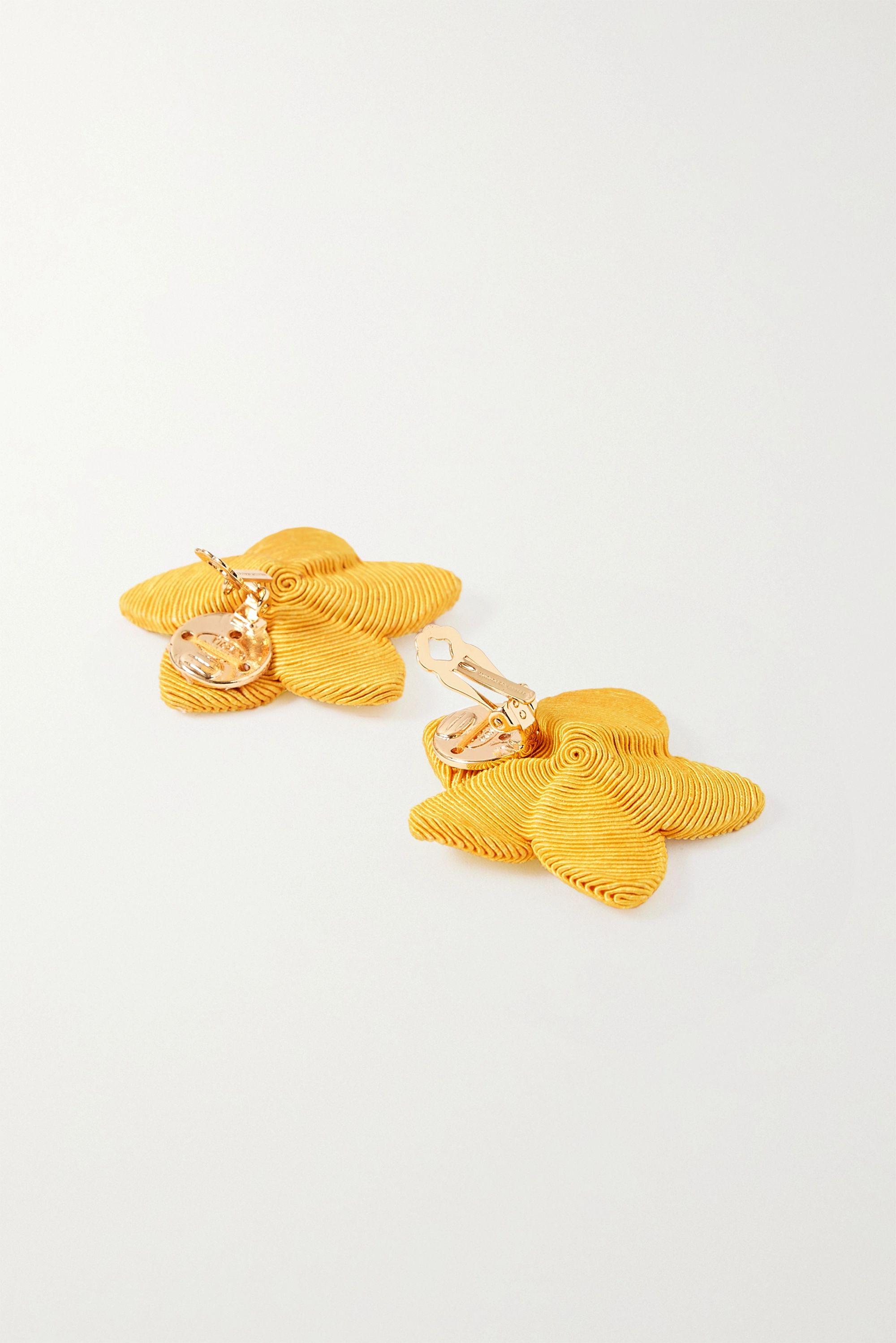 Rebecca de Ravenel Frangipani gold-plated cord clip earrings