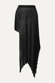Asymmetric pleated metallic voile skirt