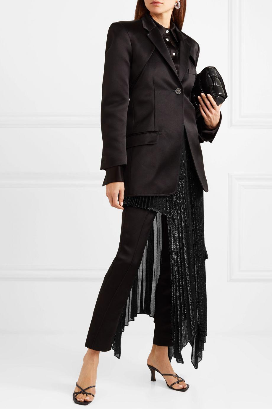 Peter Do 不对称褶裥金属感巴里纱半身裙