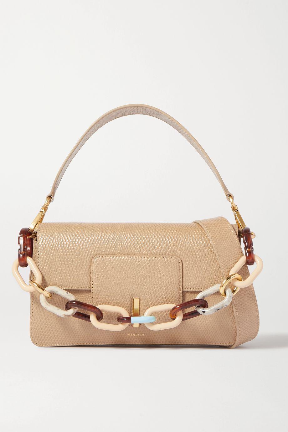 Wandler Georgia chain-embellished lizard-effect leather shoulder bag