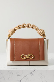 Anya Hindmarch Bow rope-trimmed two-tone leather shoulder bag
