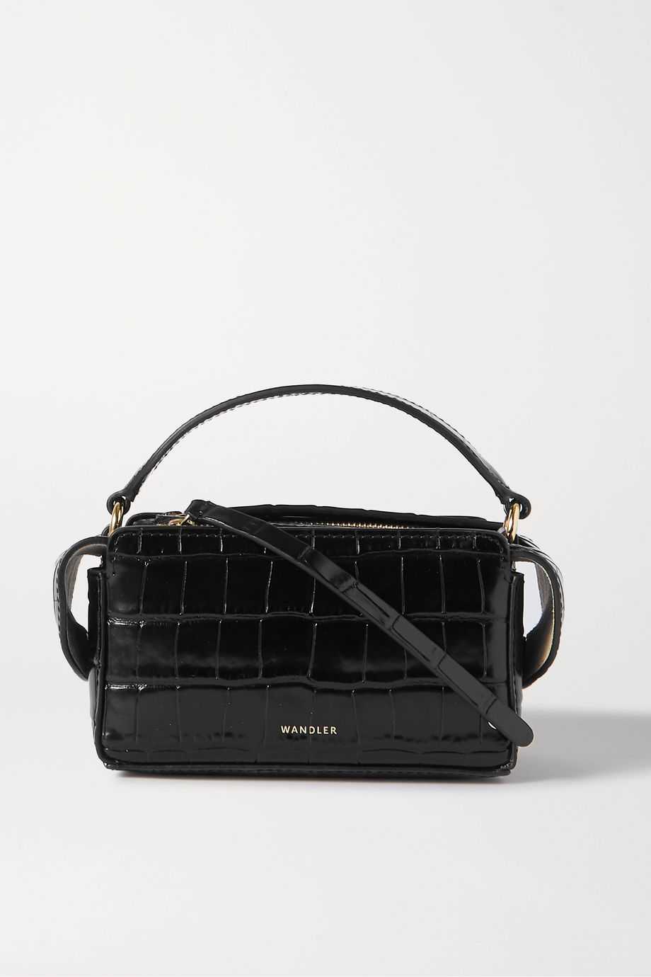Wandler Yara Box croc-effect leather tote