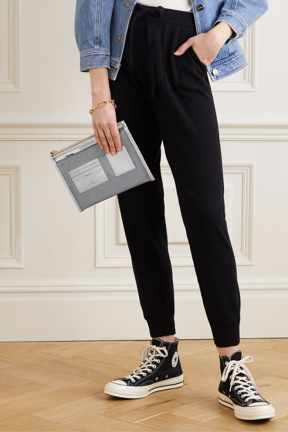 Anya Hindmarch Safe Deposit metallic leather-trimmed PVC pouch