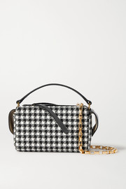 Wandler Yara Box leather-trimmed houndstooth tweed shoulder bag