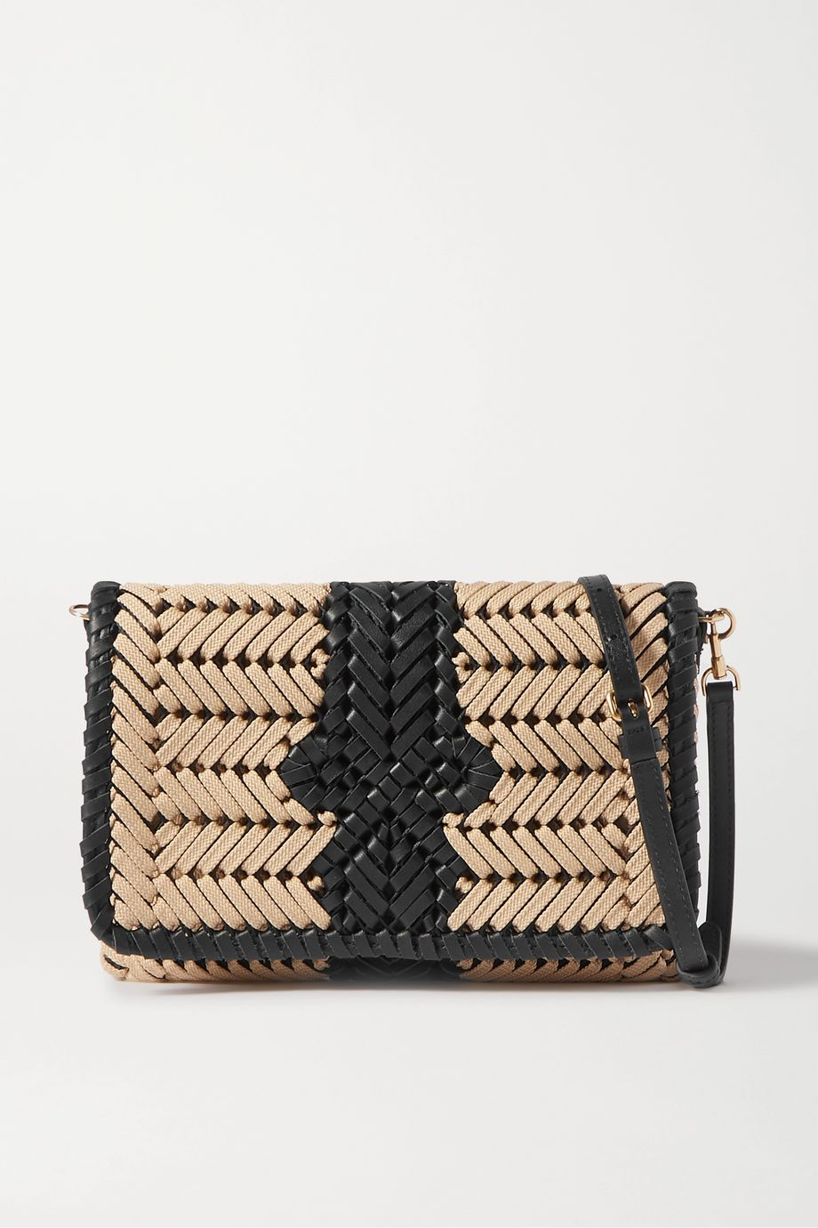 Anya Hindmarch Neeson woven leather-trimmed rope shoulder bag