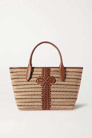 Neeson woven leather-trimmed rope tote
