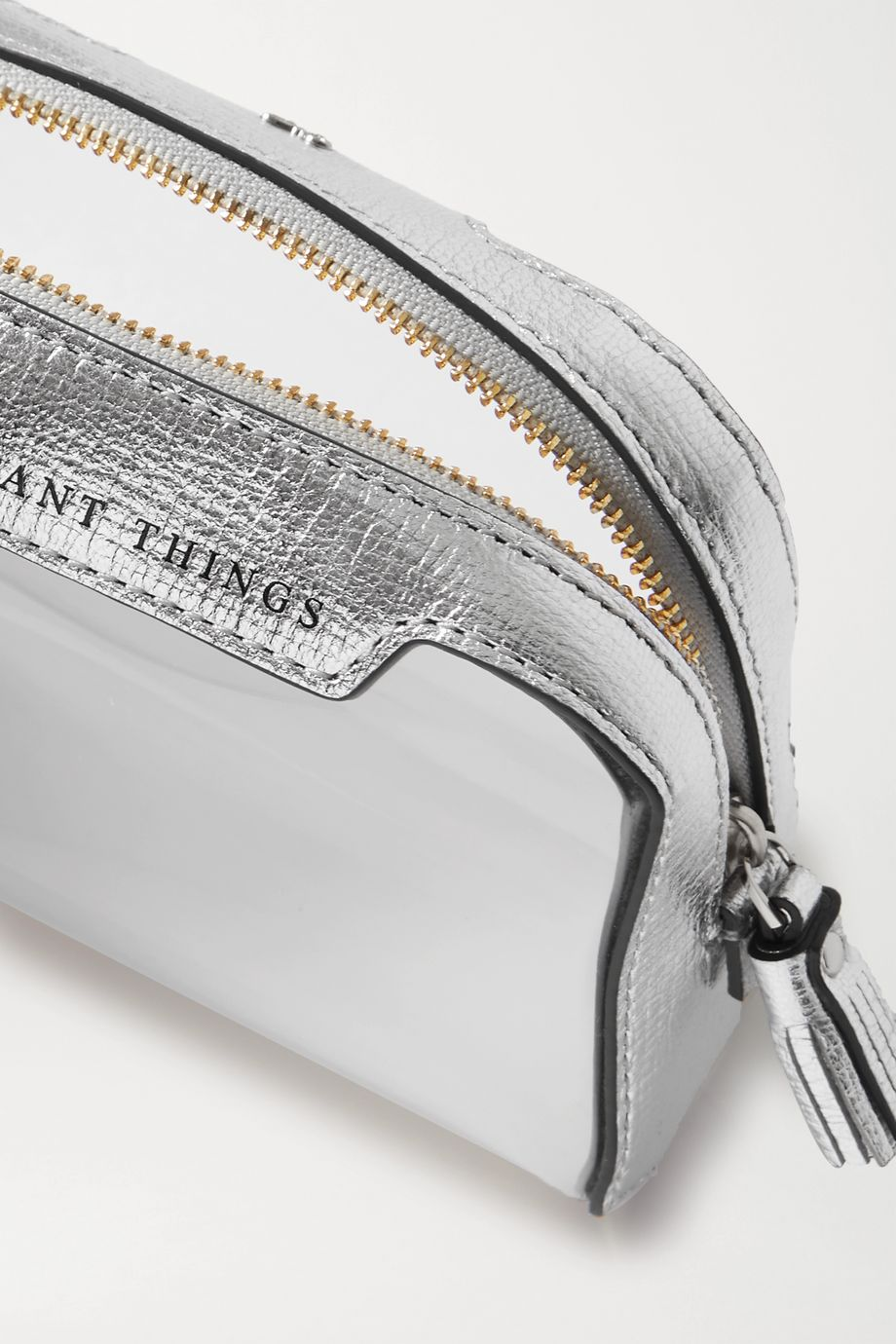 Anya Hindmarch Important Things metallic leather-trimmed PVC pouch