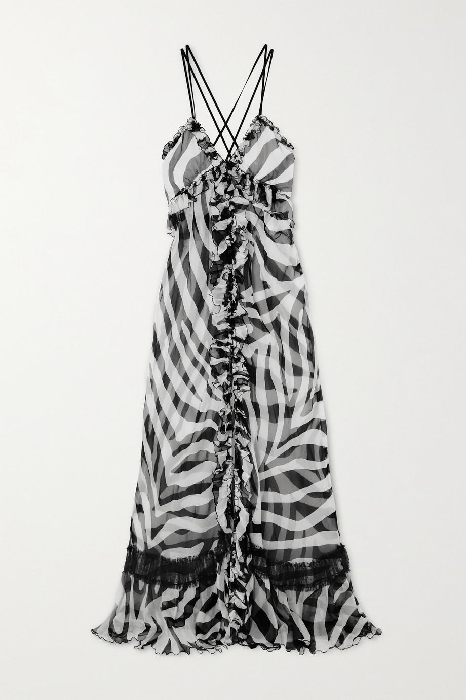 Redemption Ruffled zebra-print tulle-paneled silk-chiffon maxi dress