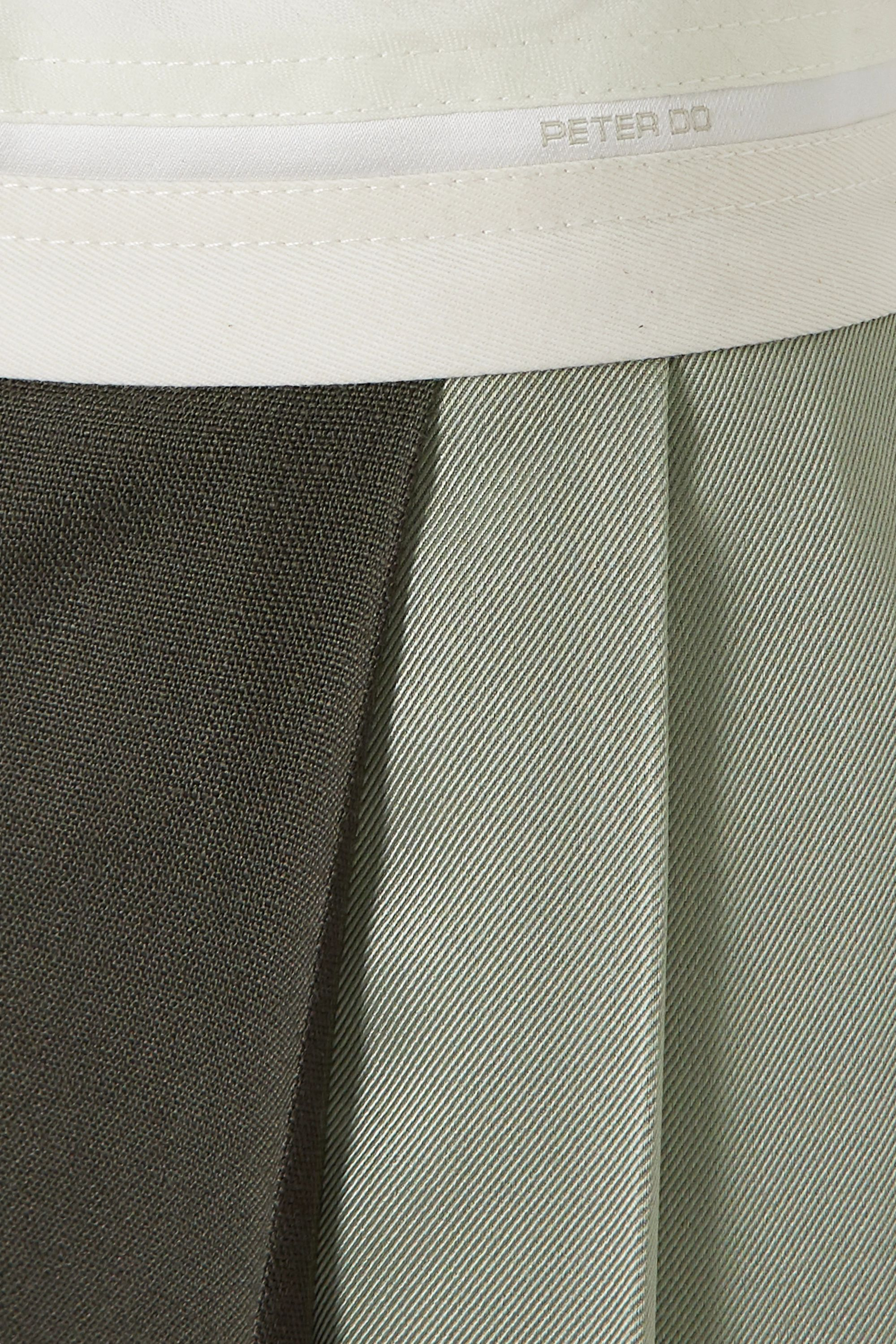 Peter Do Pleated color-block woven midi skirt