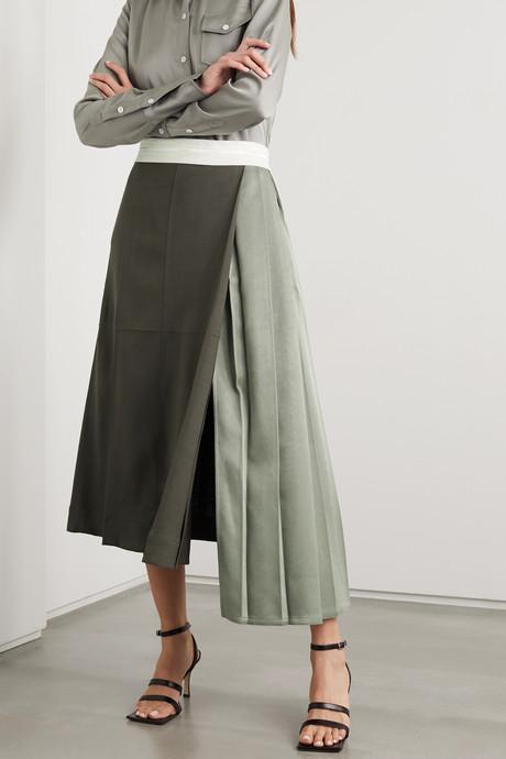 Pleated color-block woven midi skirt