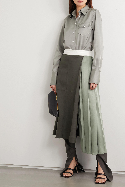 Peter Do 褶裥拼色梭织中长半身裙