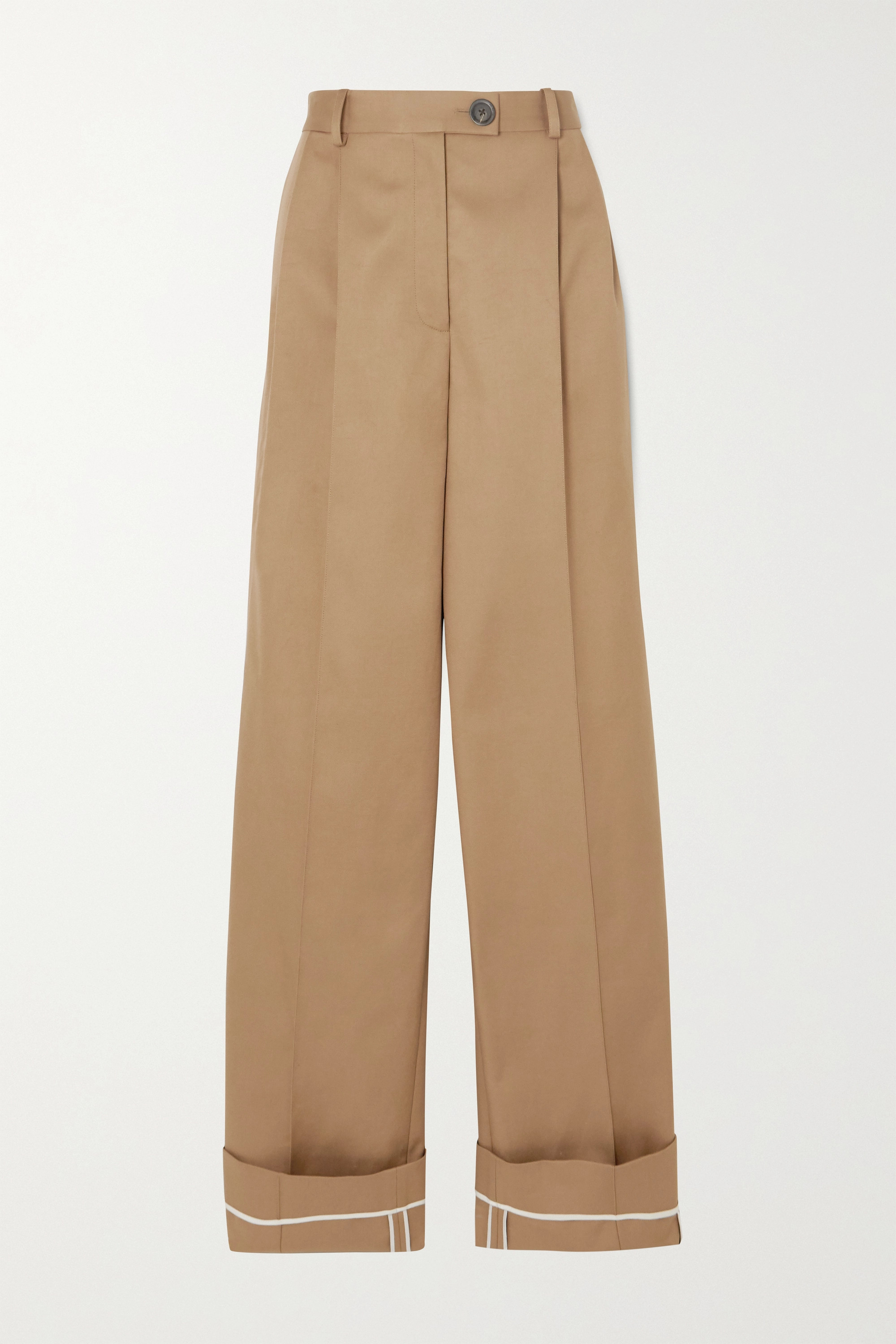 Peter Do Pleated cotton-twill wide-leg pants