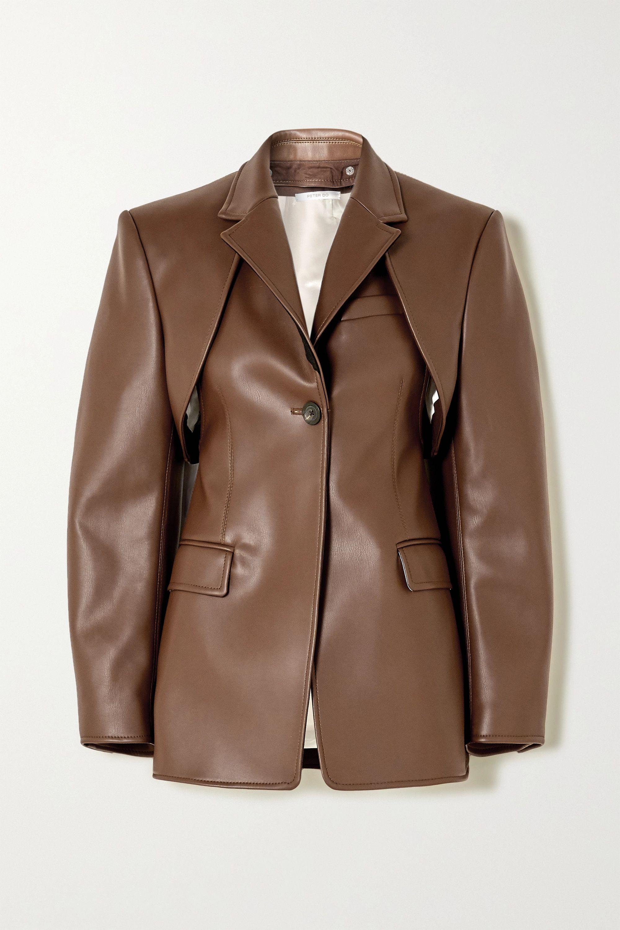 Peter Do 多种穿法人造皮革西装外套