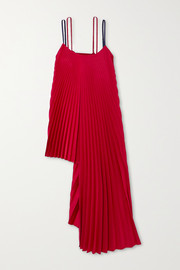 Peter Do Pleated asymmetric ribbed-knit and crepe top