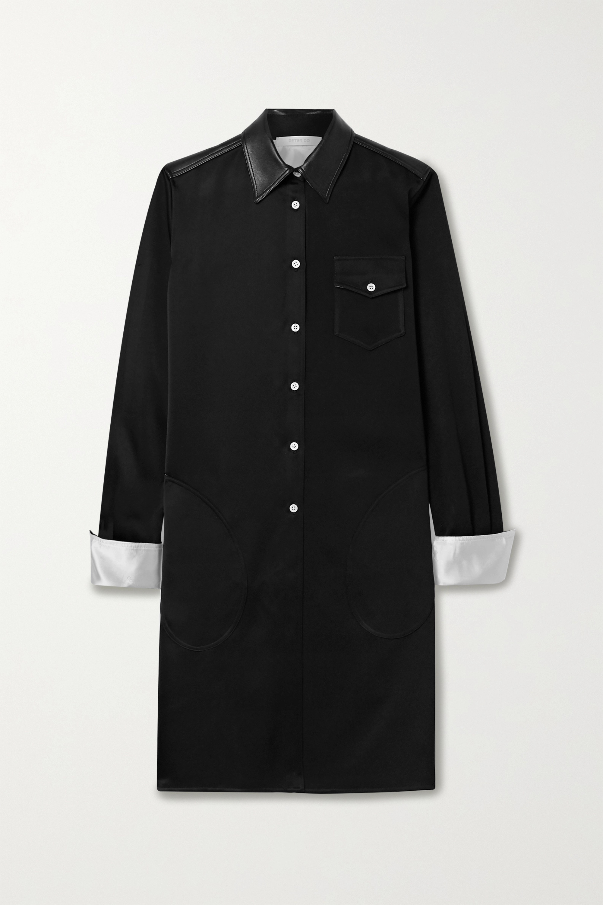 Peter Do Faux leather-trimmed satin-twill shirt dress