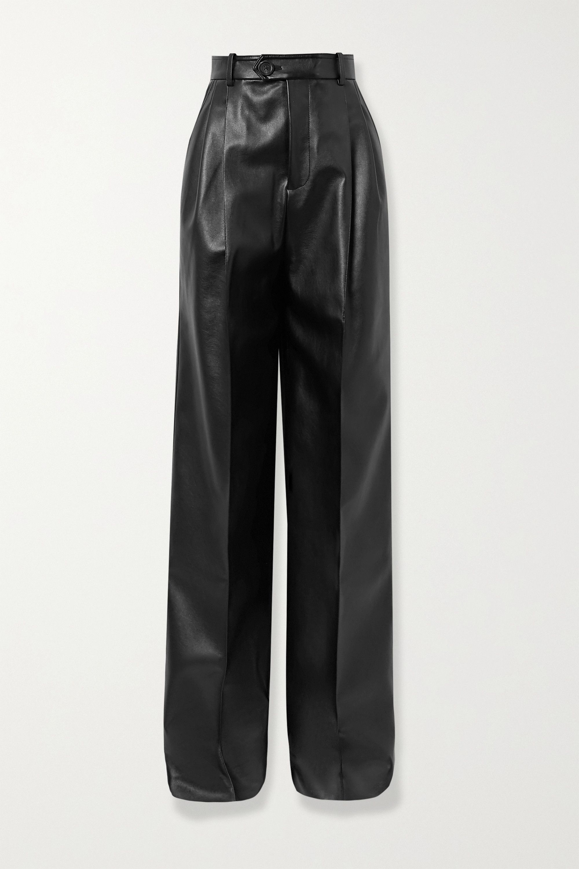 Peter Do Pleated faux leather straight-leg pants