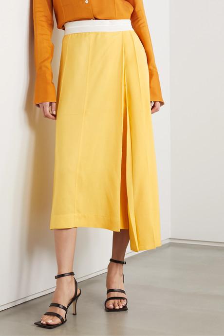 Asymmetric pleated voile midi skirt