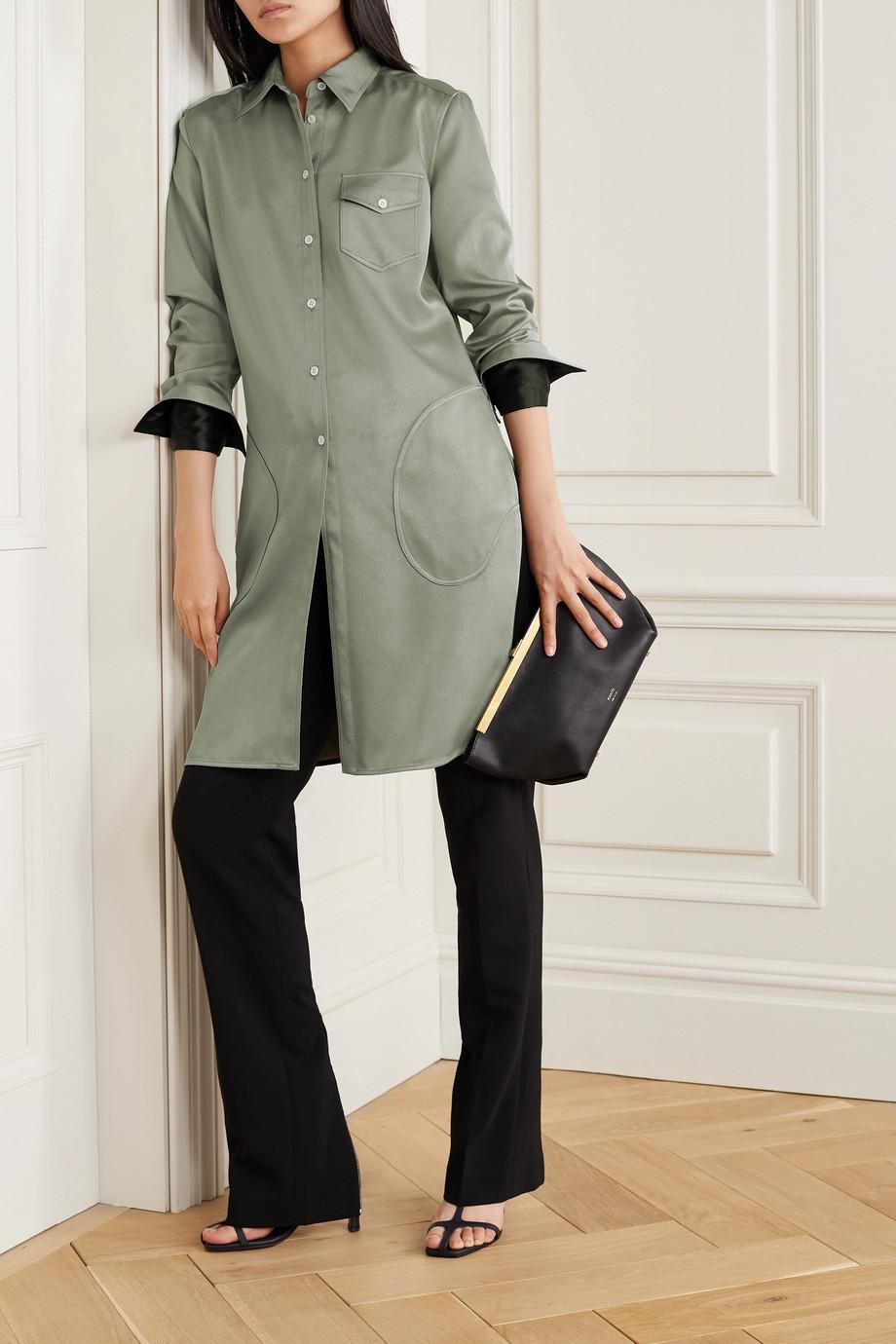 Peter Do 缎面斜纹布衬衫式连衣裙